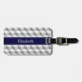 Lt Grey Wht 3D Look Cubes Navy Blue Name Monogram Luggage Tag