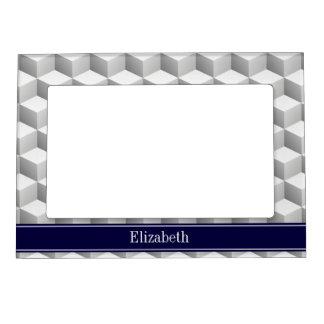 Lt Grey Wht 3D Look Cubes Navy Blue Name Monogram Frame Magnets
