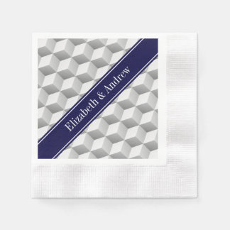 Lt Grey Wht 3D Look Cubes Navy Blue Name Monogram Coined Cocktail Napkin