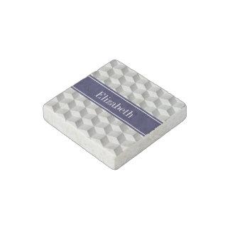 Lt Grey Wht 3D Look Cubes Navy Blue Name Monogram Stone Magnet