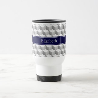Lt Grey Wht 3D Look Cubes Navy Blue Name Monogram Travel Mug