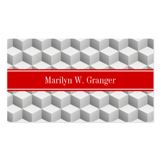 Lt Grey Wht 3D Look Cubes Red Name Monogram Business Card
