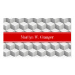 Lt Grey Wht 3D Look Cubes Red Name Monogram Double-Sided Standard Business Cards (Pack Of 100)