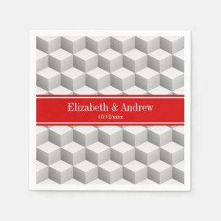 Lt Grey Wht 3D Look Cubes Red Name Monogram Napkin