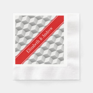 Lt Grey Wht 3D Look Cubes Red Name Monogram Coined Cocktail Napkin