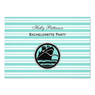 """Lt náutico Blue White Stripe H Bachelorette de la Invitación 5"""" X 7"""""""