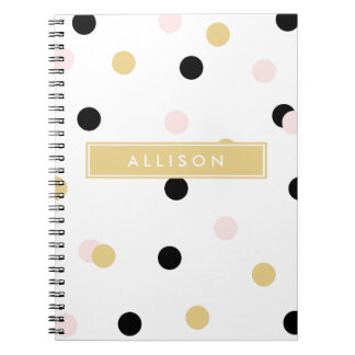 Lt Pink Black and Gold Polka Dot Monogram Notebook