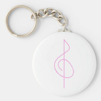 Lt. Pink Brushstroke Treble Clef Basic Round Button Keychain