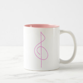 Lt. Pink Brushstroke Treble Clef Coffee Mugs