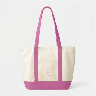 Lt. Pink Brushstroke Treble Clef Tote Bag