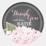 Lt Pink Hydrangea on Chalkboard Thank You Sticker