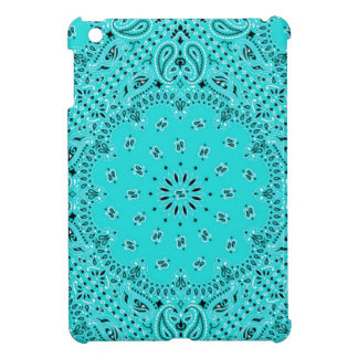 Lt Turquoise Paisley Western Bandana Scarf Print iPad Mini Cover