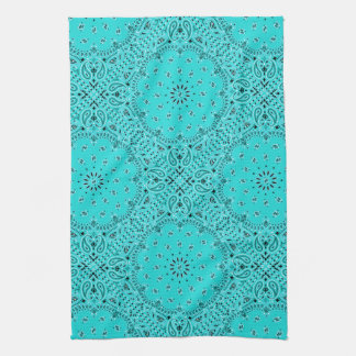 Lt Turquoise Paisley Western Bandana Scarf Print Kitchen Towel