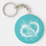Lt Turquoise Sparkly Hearts Keychain Llaveros
