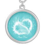 Lt Turquoise Sparkly White Heart Necklace