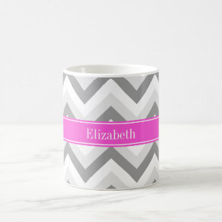 Lt Two Gray White Chevron Hot Pink Name Monogram Classic White Coffee Mug