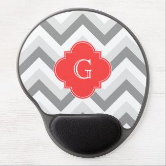 Lt Two Gray Wht Chevron SQ Coral Red Name Monogram Gel Mousepad