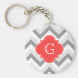 Lt Two Gray Wht Chevron SQ Coral Red Name Monogram Basic Round Button Keychain