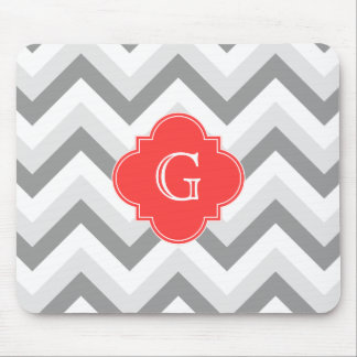 Lt Two Gray Wht Chevron SQ Coral Red Name Monogram Mouse Pad