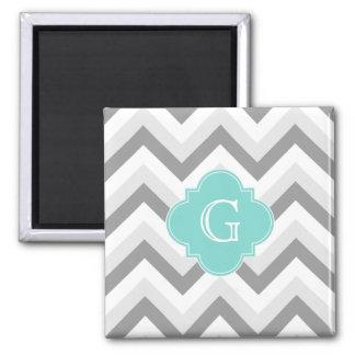 Lt Two Grey White Chevron Aqua Monogram 2 Inch Square Magnet