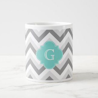 Lt Two Grey White Chevron Aqua Monogram Large Coffee Mug