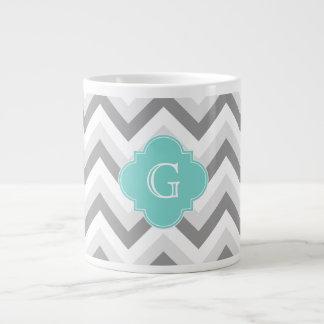 Lt Two Grey White Chevron Aqua Monogram 20 Oz Large Ceramic Coffee Mug