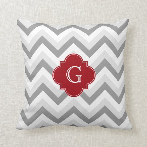 Lt Two Grey White Chevron Cranberry Monogram Pillow