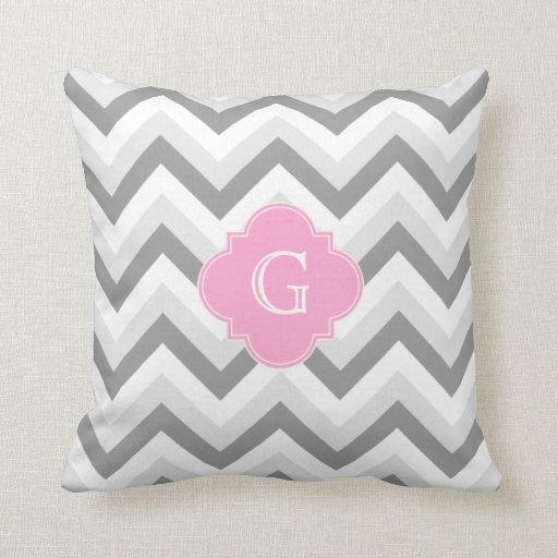 Lt Two Grey White Chevron Pink Quatrefoil Monogram Pillows