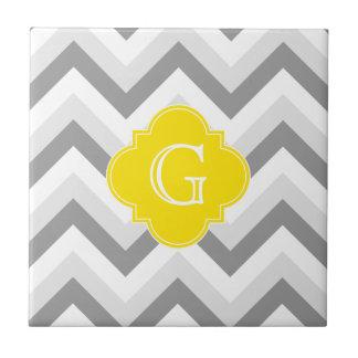 Lt Two Grey White Chevron Yellow Monogram Tile