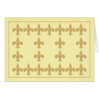Lt Yellow Note Card with Gold Color Fleur-de-Lis