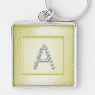 Lt Yellow Shimmer and Sparkle with Monogram Keychain