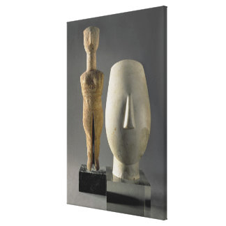 (Lto R) Figurine with crossed arms, Cycladic; head Canvas Print