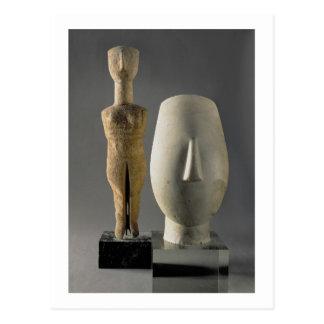 (Lto R) Figurine with crossed arms, Cycladic; head Postcard