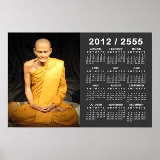 Luang Poo Mun Bhuridatto 2012/2555 SEA calendario Impresiones