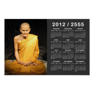 Luang Poo Mun Bhuridatto 2012/2555 SEA calendario Póster
