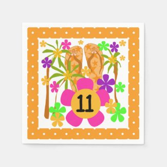 Luau 11th Birthday Paper Napkins