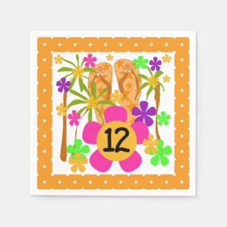 Luau 12th Birthday Paper Napkins