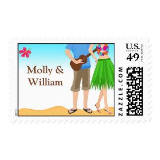 Luau Beach Couple Wedding Shower Postage Stamp