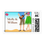 Luau Beach Couple Wedding Shower Stamps