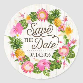 Luau Beach Tropical Floral Save the Date Label Classic Round Sticker