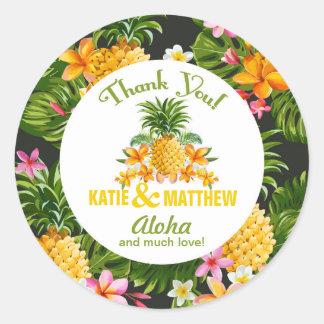 Luau Beach Tropical Floral Thank You Label