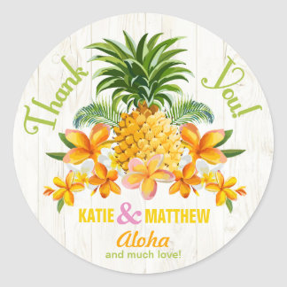 Luau Beach Tropical Floral Thank You Label Classic Round Sticker
