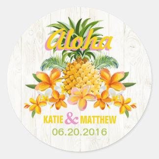 Luau Beach Tropical Floral Wedding Label Classic Round Sticker