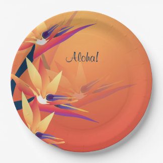 Luau Bird-of-Paradise Hawaiian Tropical Party 9in 9 Inch Paper Plate
