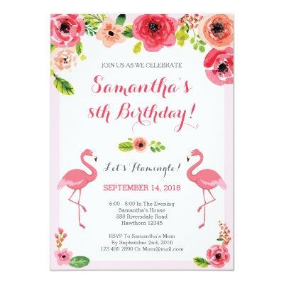 Summer Flamingo Birthday Invitation Flamingle Card – Flamingo Birthday Invitations