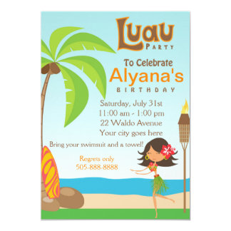 Luau Birthday Party Invitation Card