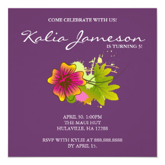 Luau Birthday Party Invite Hibiscus Floral Purple