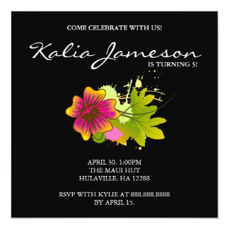 Luau Birthday Party Invite Hibiscus Flower Black