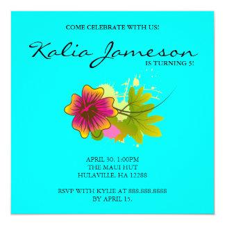 Luau Birthday Party Invite Hibiscus Flower Blue