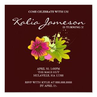Luau Birthday Party Invite Hibiscus Flower Brown